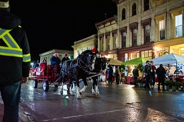 Horse Wagon at Night at Christmas Outdoor Fair